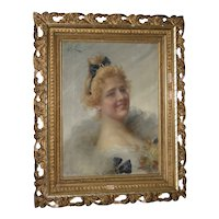 Adriano Goby 19th Century Oil Portrait of a Beautiful Young Lady circa 1890s