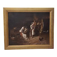 "Joseph Mazzuloni (Italy, b. 1868) ""The Broken Jug"" Original Oil Painting c.1890s"