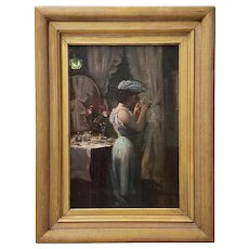 19th Century Oil Portrait of Elegant Woman at Dressing Table