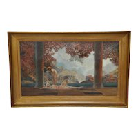 """""""Daybreak"""" Original 20th Century Oil Painting after Parrish"""