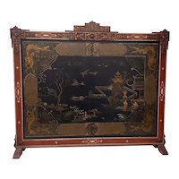 Vintage Chinese Carved & Painted Fire Screen c.1940s