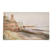 Antique English Coastside Watercolor Painting 19th c.