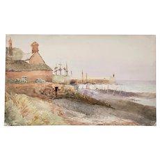 Antique English Coastside Watercolor Painting 19th c.