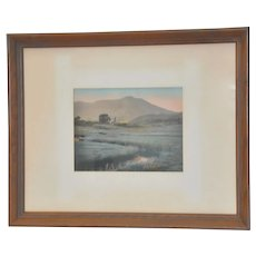 Vintage Hand Colored Mountain and Farm Fields Landscape c.1930s