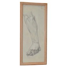 Vintage Study of a Forearm with Clinched Fist Original Graphite Figure Drawing C.1960s