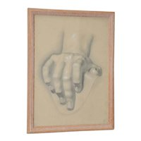 Vintage Study of Hand Original Graphite Figure Drawing c.1960s