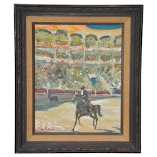 Phillipe Marchand Mid 20th Century Toreador and Bull Oil Painting c.1960