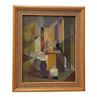 Vintage Mid Modern Geometric Abstract Still Life Oil Painting c.1940s to 1950s