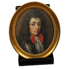 Fine 19th c. Portrait Miniature of a  Young King Louis XV in a Suit of Armor