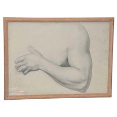 Vintage Study of  Torso and Arm Original Graphite Figure Drawing c.1960s
