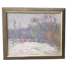 Vintage Russian Winter Landscape Oil Painting c.1990