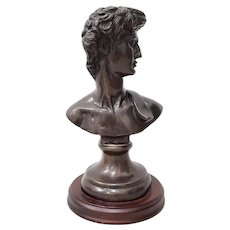 Vintage Italian Bronze Bust of David Mid Century