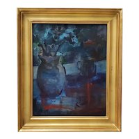 """Vintage """"Blue and Orange and Green Study"""" Still Life Oil Painting by Thorpe"""