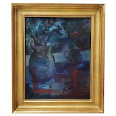 "Vintage ""Blue and Orange and Green Study"" Still Life Oil Painting by Thorpe"
