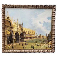 Vintage St. Marks Square Venetian Oil Painting