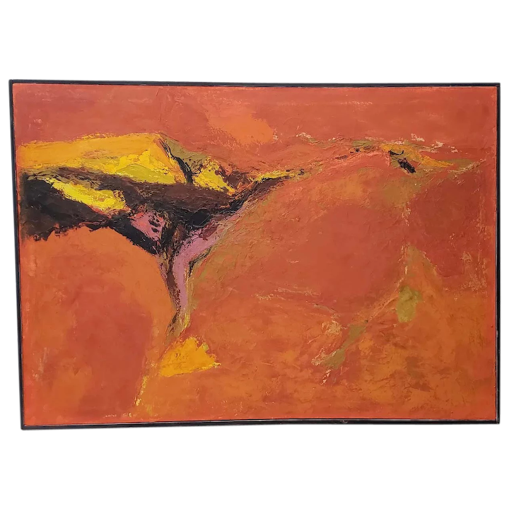 Mid Century Modern Orange Abstract Oil Painting By R Neeley C 1960