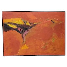 Mid Century Modern Orange Abstract Oil Painting by R. Neeley c.1960