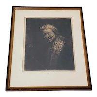 Rembrandt Self Portrait Engraving