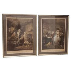 18th Century George Morland Hand Colored Mezzotints Published by T. Simpson, London 1789