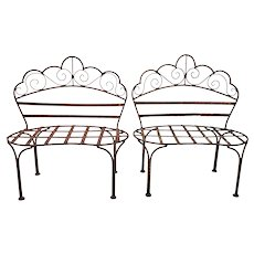 Pair of 19th Century Wrought Iron Children's Benches / Patio Plant Stands