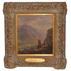 """Albert Bierstadt  """"Valley of Meringen, Switzerland"""" Oil on Panel c.1858"""