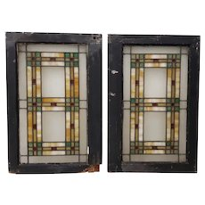 19th Century Arts & Crafts Stained Glass Window Panel c.1890s
