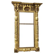 Early 19th Century American Hand Carved & Gilded Mirror circa 1820s
