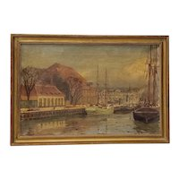 Late 19th to Early 20th Century European Port Scene Oil Painting