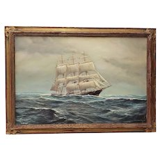 George Wheatley (American, b.1895) Clipper Ship Oil Painting