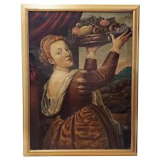 Mid 19th Century Oil Portrait of a Young Woman With Platter of Fruit c.1850s