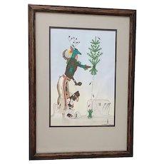 Rafael Medina (1929-1998) Original Zia Pueblo School Gouache Painting c.1971