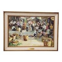 "Gerald Merfeld (American, 20th c.) ""Street Market,  Vietnam"" Original Oil Painting c.1980s"
