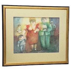 "Norah Beltrán (Bolivia, 20th c.) ""Family Group"" Original Watercolor c.1980s"