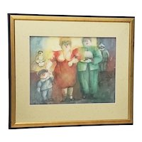 "Norha Beltrán (Bolivia, 20th c.) ""Family Group"" Original Watercolor c.1980s"