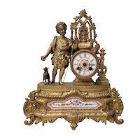 19th C. French Mantle Clock with Young Shepherd & Porcelain Mounts