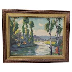 Early 20th Century Western Mountain Landscape Oil Painting c.1930