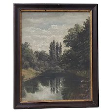 A Late 19th Century Country Landscape with Poplar Trees