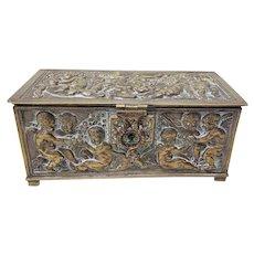 19th Century Hand Made Spanish Brass Box With Playful Putti