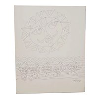 Haku Shah (India, 1934-2019) Original Pen & Ink Drawing c.1968