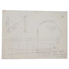 Haku Shah (India, 1934-2019) Original Pen & Ink Drawing For Ray (Eames) c.1968