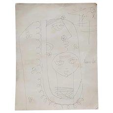 Haku Shah (India, 1934-2019) Original Pen & Ink Drawing Indian Woman with Child c.1968