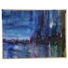 """David McKay (California) """"Night Magic"""" Original Abstract Cityscape Watercolor c.1950s"""