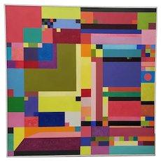Erik Koch (Denmark, b.1933) Large Mid-Century Modern Abstract Oil Painting c.1967