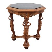 Vintage Carved Walnut & Marble Top Octagon Side Table c.1940