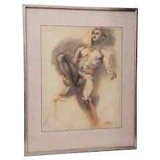Framed Vintage Figural Nude Charcoal Study by Quitman