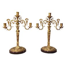Pair of 19th Century Matching French Gilded Bronze Candelabras