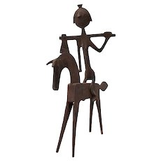 Mid-Century Modern Hand Forged Steel Horse & Rider Sculpture