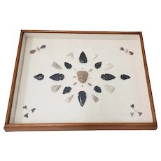 Mounted and Framed Arrowhead Collection