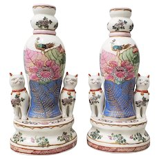 Pair of Early to Mid 20th Century Chinese Porcelain Figurines with Cats