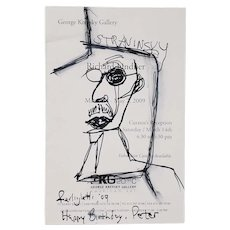 Rare Pen & Ink of Stravinsky by Lawrence Ferlinghetti (American, b.1919) c.2009